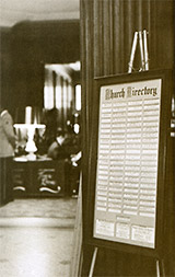 Church Directory in the lobby of Mayflower Hotel