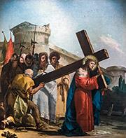 Simon of Cyrene helps Jesus carry the cross by Giandomenico Tiepolo