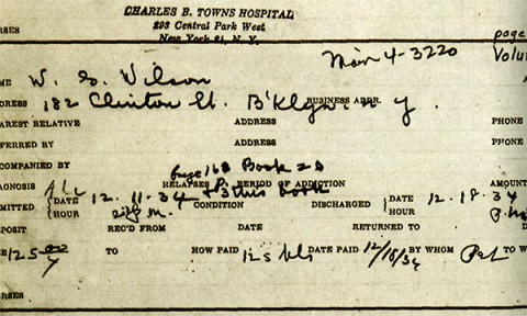 Bill's final discharge slip from Towns Hospital